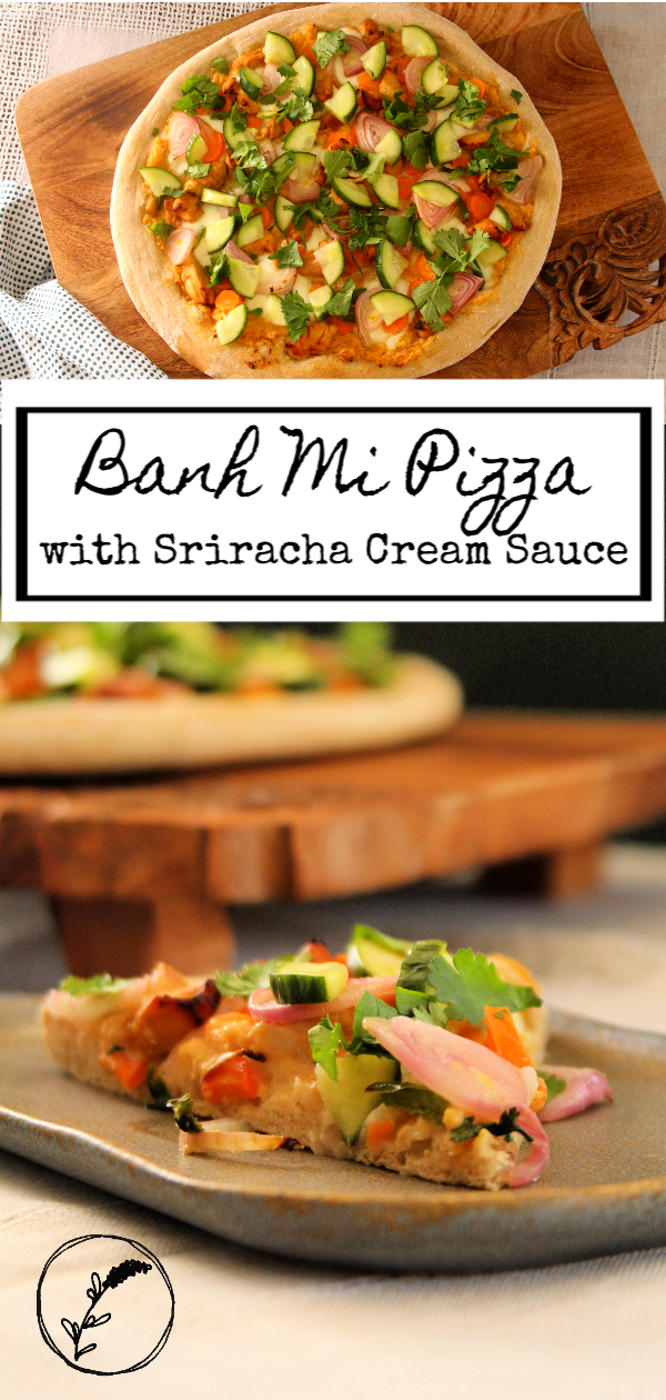 A sriracha cream sauce base, fresh and pickled veggies, and deliciously marinated chicken all come together to make one delicious non-traditional pizza!