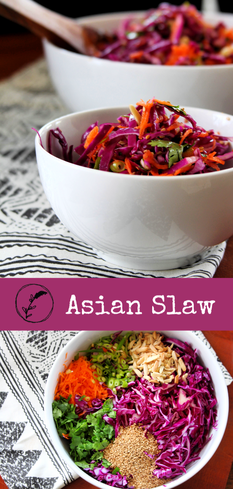 Asian Slaw: beautiful, colorful cabbage slaw makes an easy side that's also healthy, and delicious.
