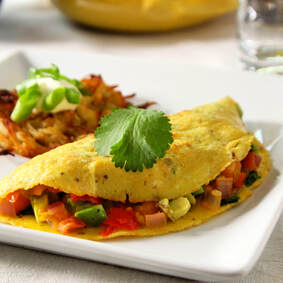 Clear the Fridge Omelets: breakfast, brunch, eggs, vegetables, vegetarian.