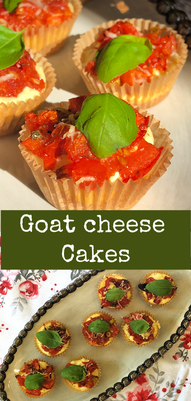 Goat cheese Cakes -appetizer, tapas, roasted tomato, goat cheese