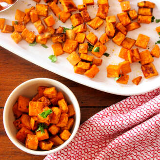 Perfect as an alternative to fries, spicy-sweet roasted sweet potatoes
