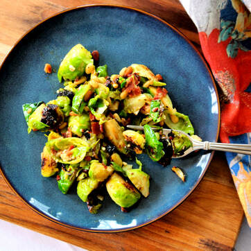 A touch of bacon and blue cheese makes these Brussels sprouts taste just a bit decadent, and the spicy-sweet vinaigrette balances it perfectly